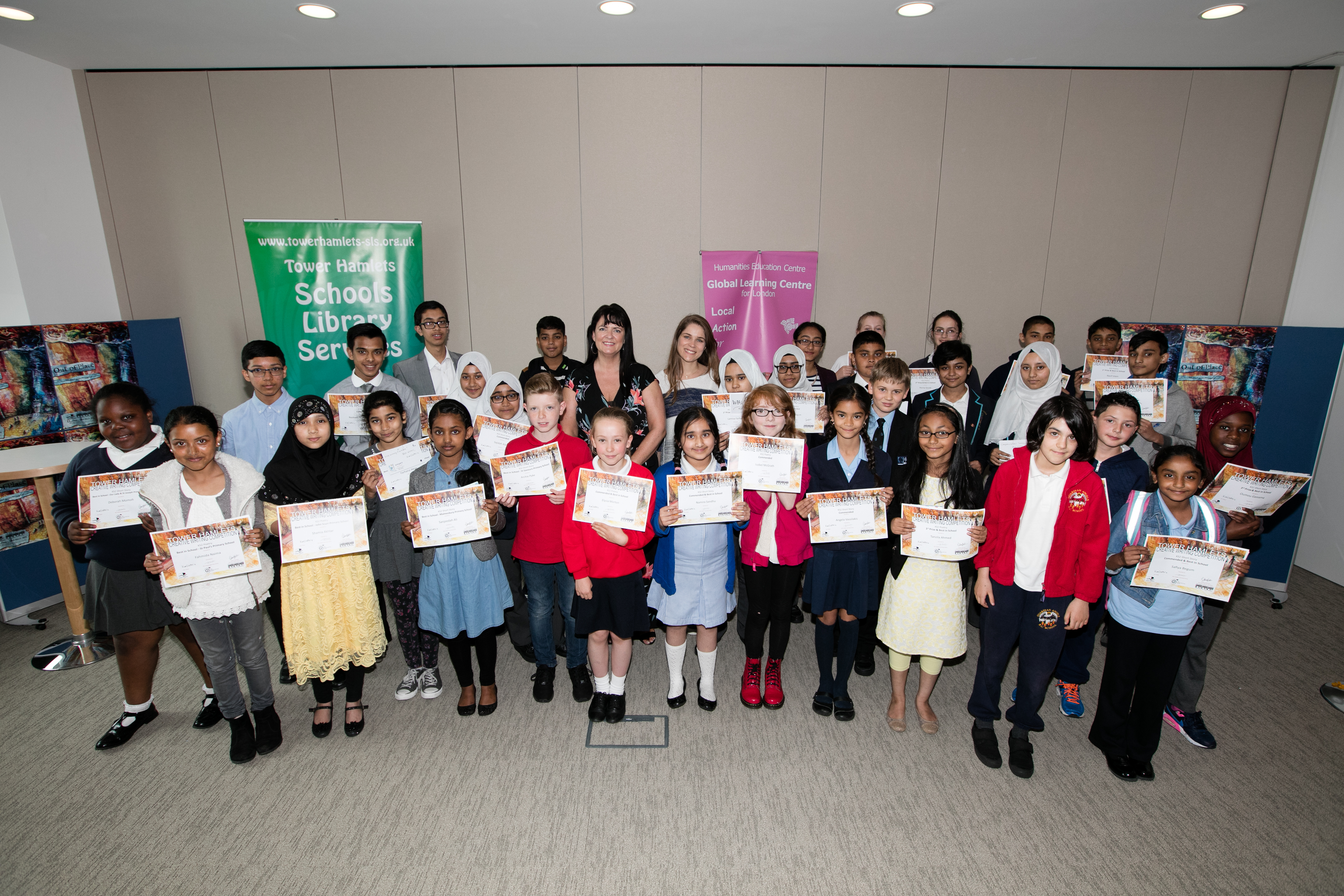 Tower Hamlets Schools Library Service writing awards at Clifford Chance, Canary Wharf.